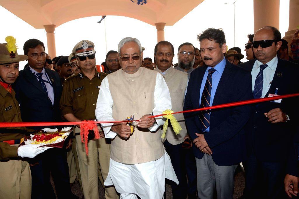 Bihar Chief Minister Nitish Kumar accompanied by DGP K S Dwivedi, inaugurates the building of Bihar Police Academy at Rajgir in Bihar on Dec 3, 2018. - Nitish Kumar