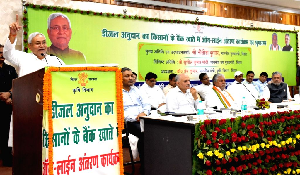 Bihar Chief Minister Nitish Kumar addressees during a programme organised by the state's Agriculture department, in Patna on  July 23, 2018. - Nitish Kumar