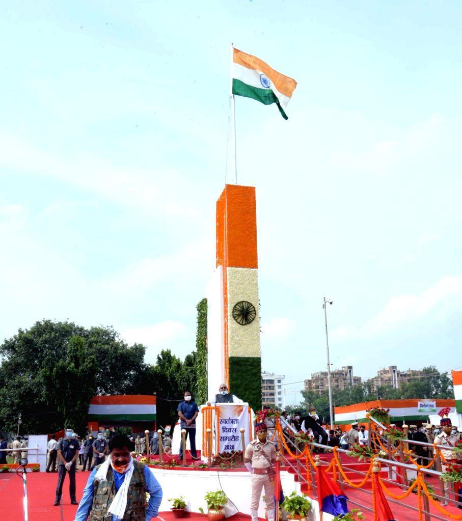 Bihar Chief Minister Nitish Kumar addresses during the 74th Independence Day celebrations at Gandhi Maidan in Patna on Aug 15, 2020. - Nitish Kumar