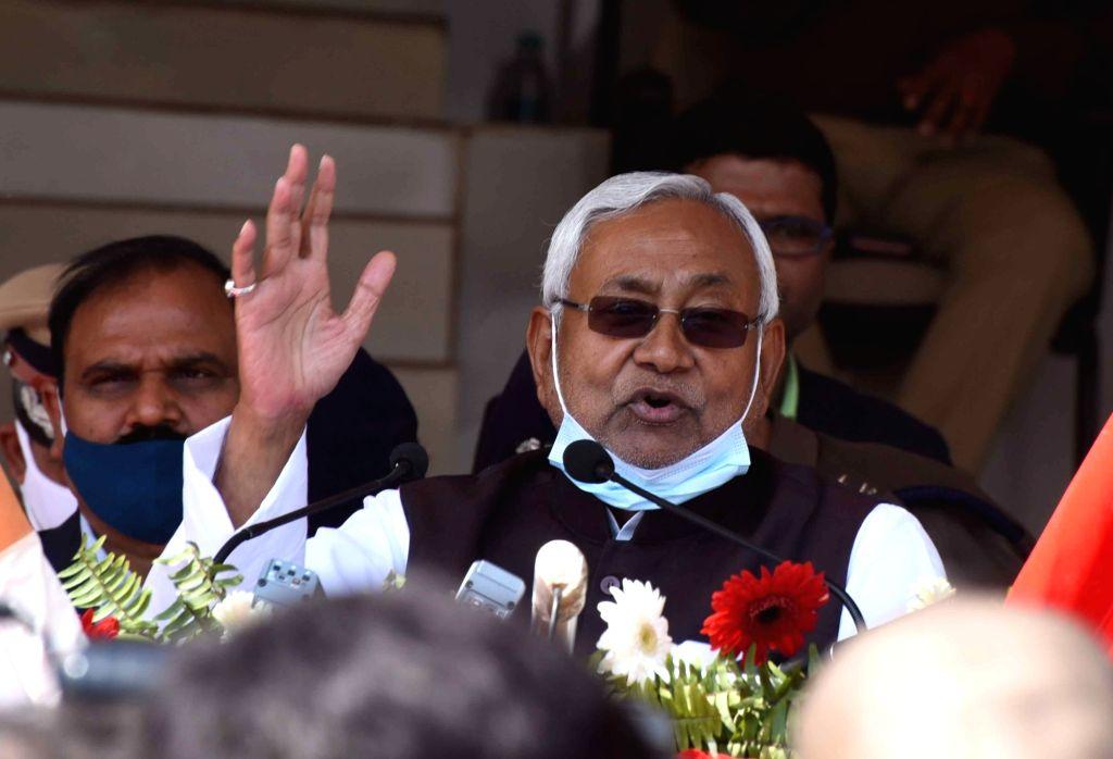 Bihar Chief Minister Nitish Kumar addresses during a 'Police Week' celebration, in Patna, Friday, Feb 26, 2021 . - Nitish Kumar
