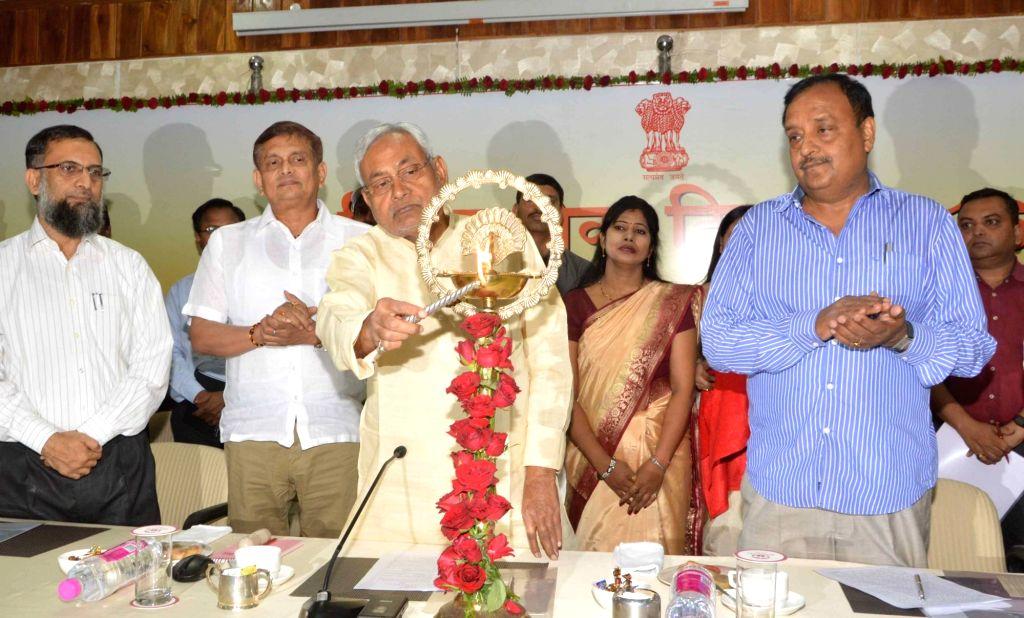 Bihar Chief Minister Nitish Kumar addresses during a Civil Services Day programme, in Patna on April 21, 2016. - Nitish Kumar