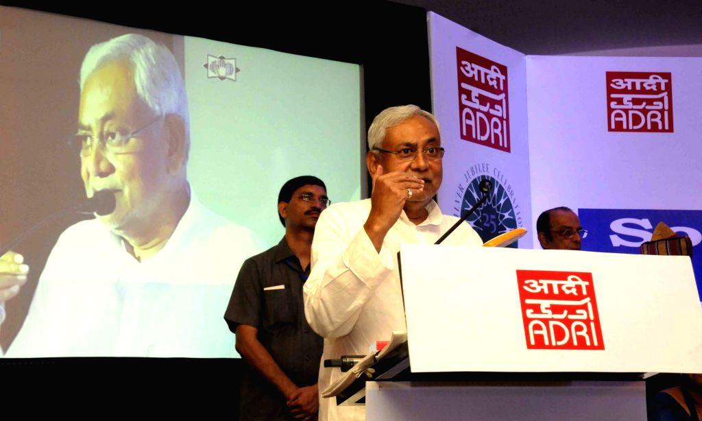 Bihar Chief Minister Nitish Kumar addresses during an international conference on 'Social Statistics in India' in Patna on June 24, 2016. - Nitish Kumar