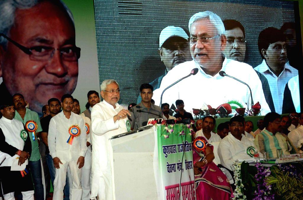 Bihar Chief Minister Nitish Kumar addresses during Samman Samaroh of Kushwaha Rajnaitik Chetna Manch in Patna on Aug 13, 2016. - Nitish Kumar