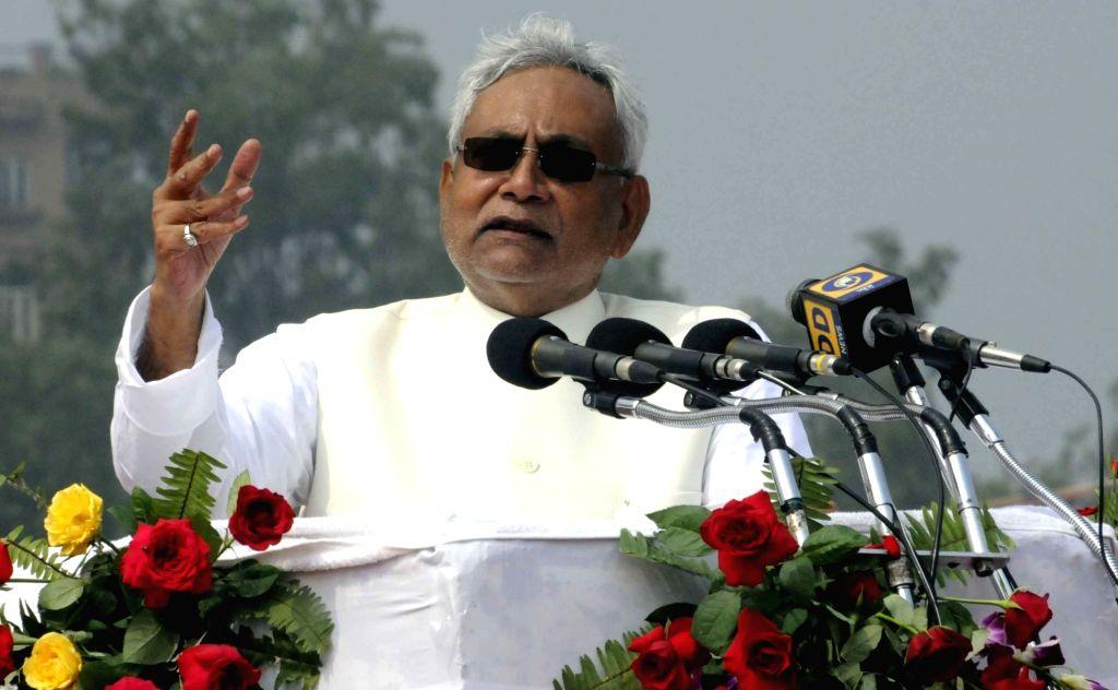 Bihar Chief Minister Nitish Kumar addresses during Independence Day programme in Patna on Aug 15, 2016. - Nitish Kumar