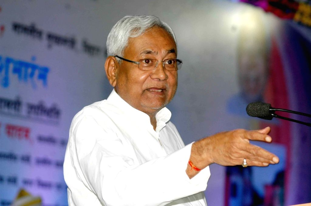 "Bihar Chief Minister Nitish Kumar addresses during a programme organised to launch ""Mukhya Mantri Nischay Yojna"" in Patna on Oct 28, 2016. - Nitish Kumar"