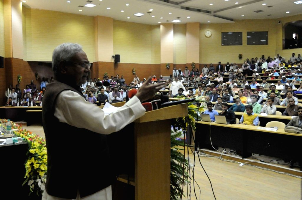 Bihar Chief Minister Nitish Kumar addresses during a programme in Patna on Nov 26, 2016. - Nitish Kumar