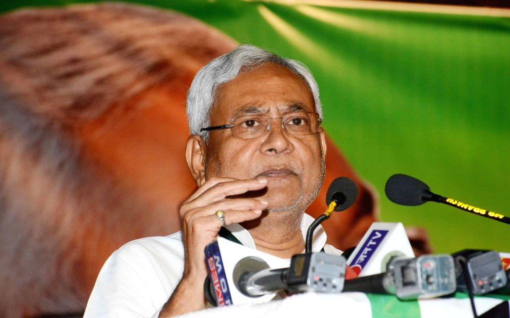Bihar chief Minister Nitish Kumar addresses during JD(U)'s national executive meeting in Patna on Auh 19, 2017. - Nitish Kumar