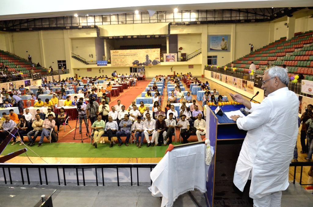 Bihar Chief Minister Nitish Kumar addresses during a prize distribution programme in Patna on Sept 11, 2017. - Nitish Kumar