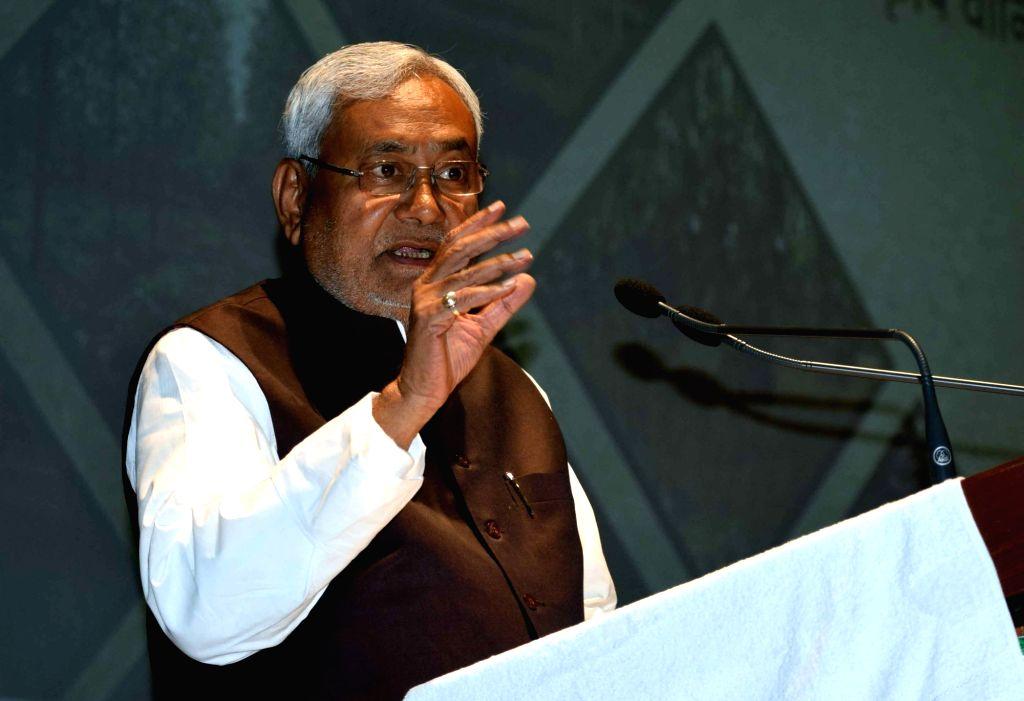 Bihar Chief Minister Nitish Kumar addresses during a programme in Patna on Feb 13, 2018. - Nitish Kumar
