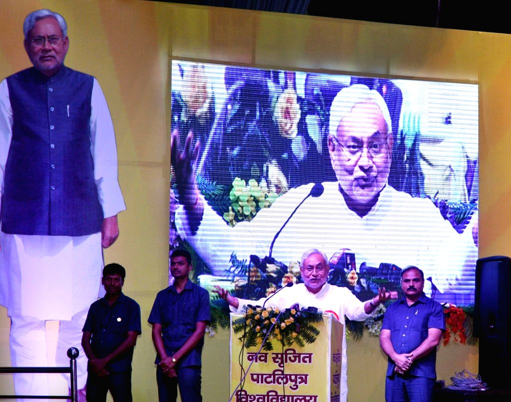 Bihar Chief Minister Nitish Kumar addresses during a programme, in Patna on July 30, 2018. - Nitish Kumar