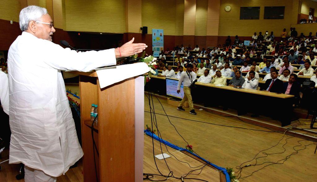 Bihar Chief Minister Nitish Kumar addresses during a programme on SC/ST welfare schemes in Patna on Aug 4, 2018. - Nitish Kumar
