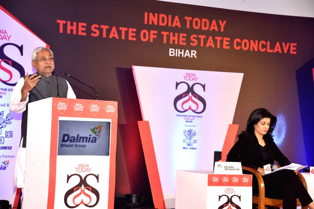 """Bihar Chief Minister Nitish Kumar addresses during the India Today """"State of the State Conclave"""" in Patna on Nov 3, 2018. - Nitish Kumar"""
