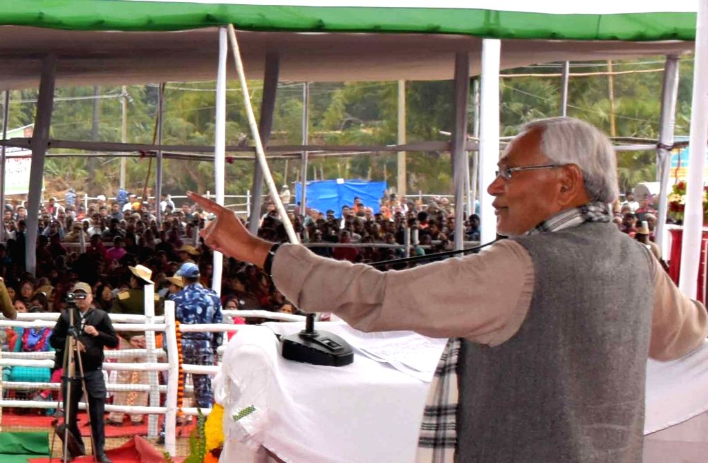 Bihar Chief Minister Nitish Kumar addresses during a Republic Day programme in Patna on Jan 26, 2019. - Nitish Kumar