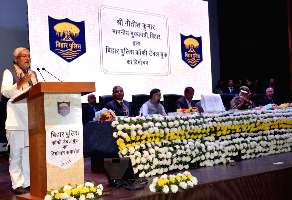 Bihar Chief Minister Nitish Kumar addresses during inauguration of Bihar Police Coffee Table book in Patna on Feb 6, 2019. - Nitish Kumar