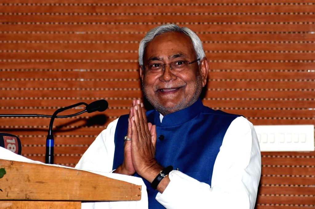 Bihar Chief Minister Nitish Kumar addresses during a programme organised to launch various development projects in Patna on March 6, 2019. - Nitish Kumar