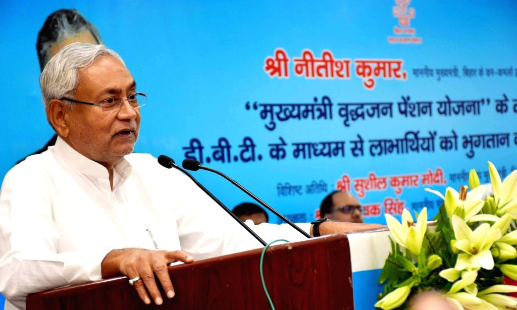 Bihar Chief Minister Nitish Kumar addresses during a programme in Patna on June 14, 2019. - Nitish Kumar