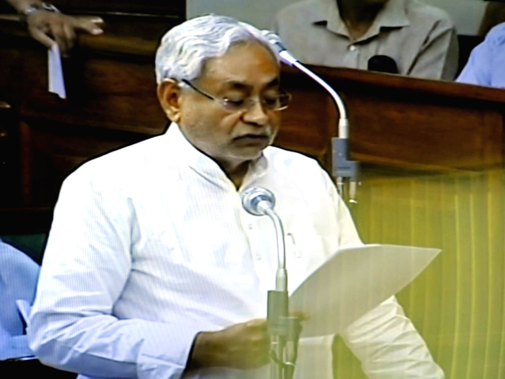 Bihar Chief Minister Nitish Kumar addresses during the state assembly Monsoon Session, in Patna on July 16, 2019. - Nitish Kumar