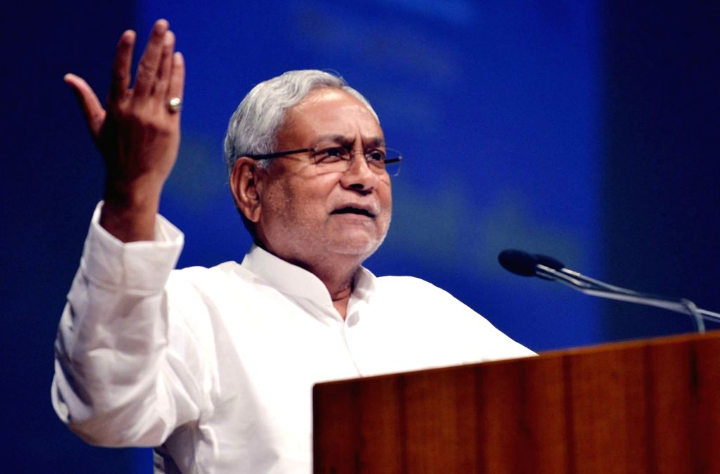 Bihar Chief Minister Nitish Kumar addresses during a programme in Patna on Aug 9, 2019. - Nitish Kumar