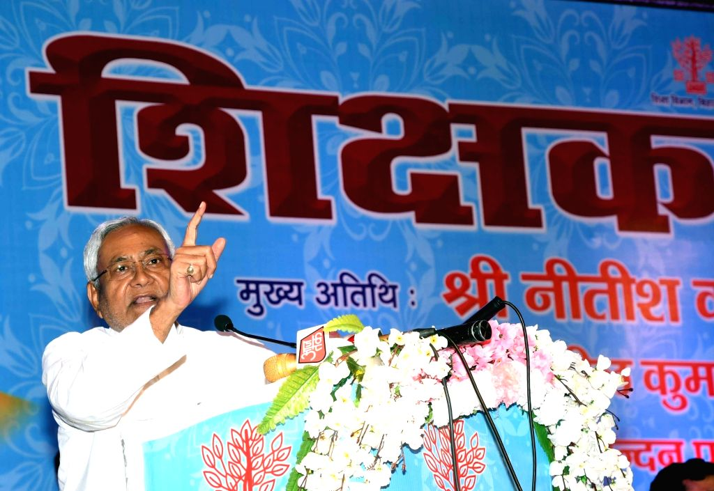 Bihar Chief Minister Nitish Kumar addresses during a programme 0rganised to felicitate teachers on the occasion of Teachers' Day, in Patna on Sep 5, 2019. - Nitish Kumar