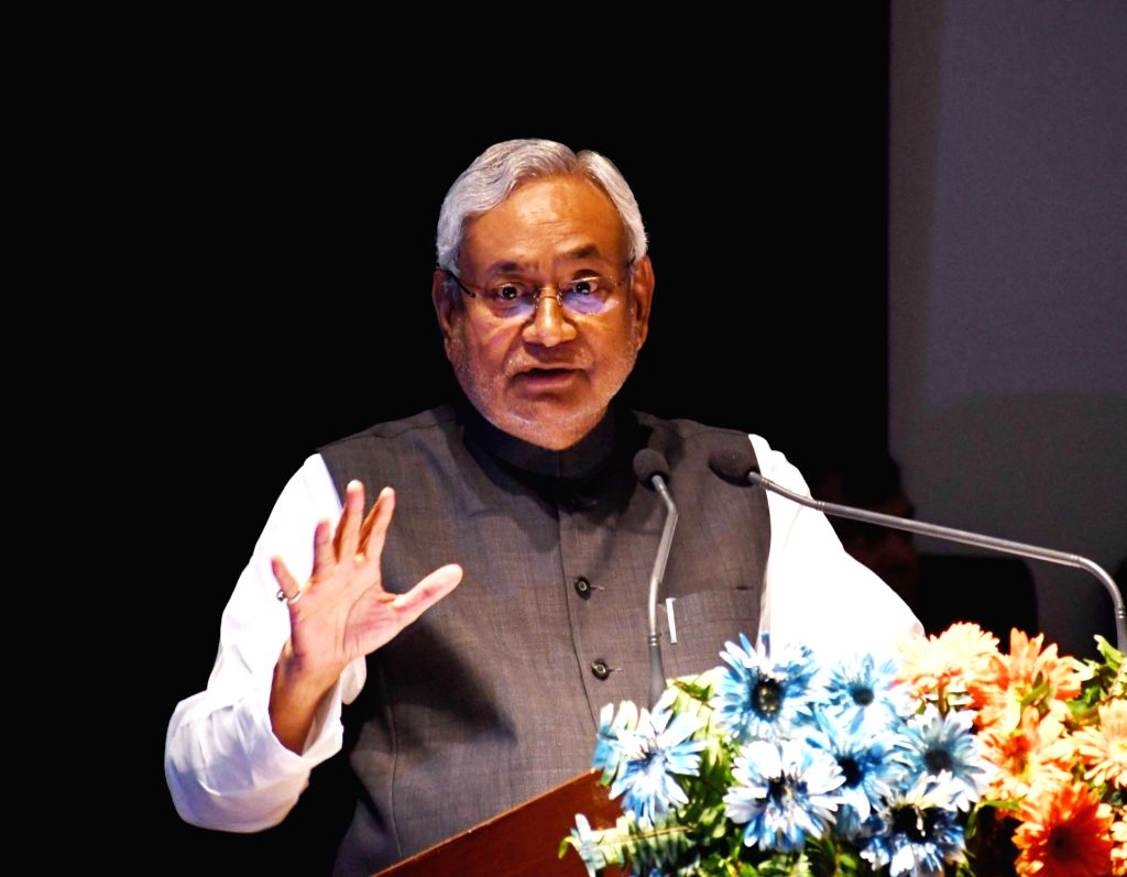 Bihar Chief Minister Nitish Kumar addresses during an exhibition organised by the state's Minor Water Resources Department, in Patna on Oct 26, 2019. - Nitish Kumar