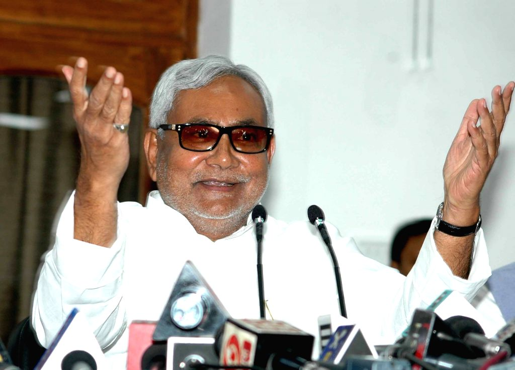 Bihar Chief Minister Nitish Kumar addresses a press conference in Patna on Aug 18, 2015. - Nitish Kumar