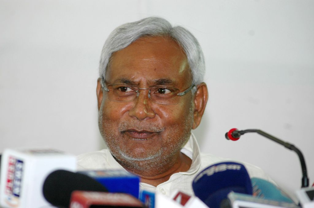 Bihar Chief Minister Nitish Kumar addresses a press conference in Patna, on Oct 26, 2015.