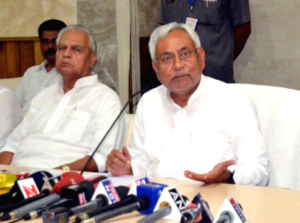 Bihar Chief Minister Nitish Kumar addresses a press conference in Patna on June 5, 2017. - Nitish Kumar