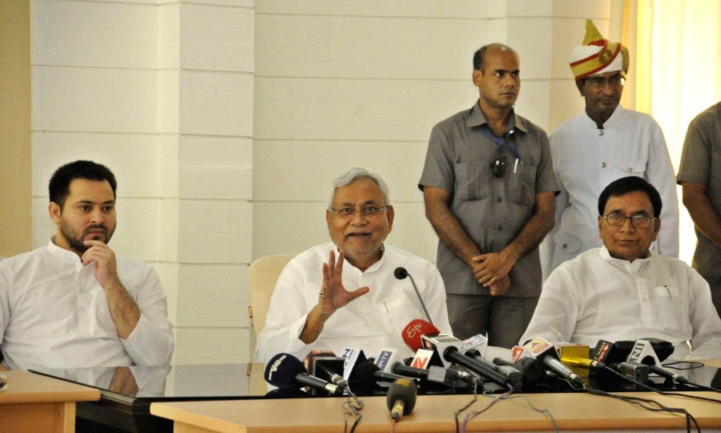 Bihar Chief Minister Nitish Kumar addresses a during a program in Patna on July 3, 2017. - Nitish Kumar