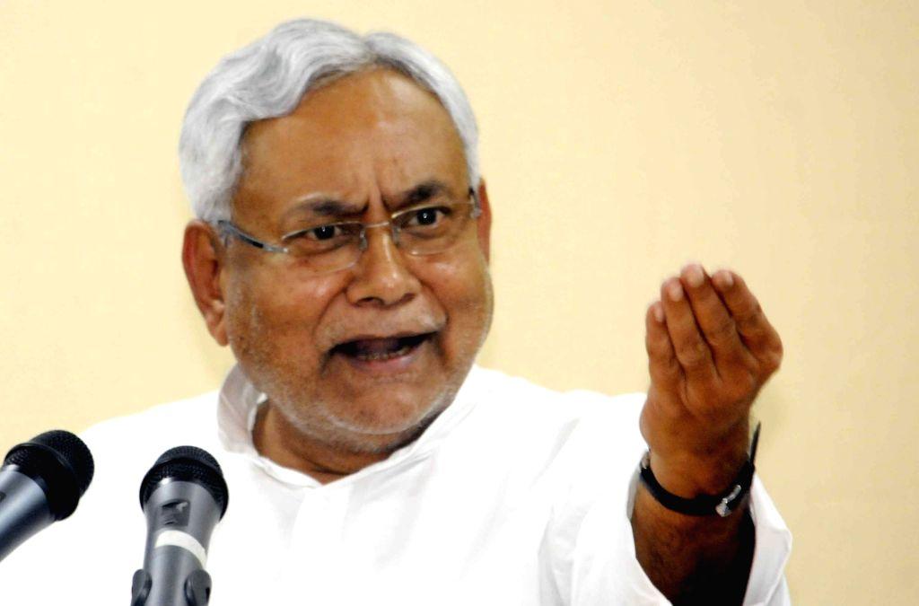 Bihar Chief Minister Nitish Kumar addresses a press conference in Patna on July 31, 2017. - Nitish Kumar