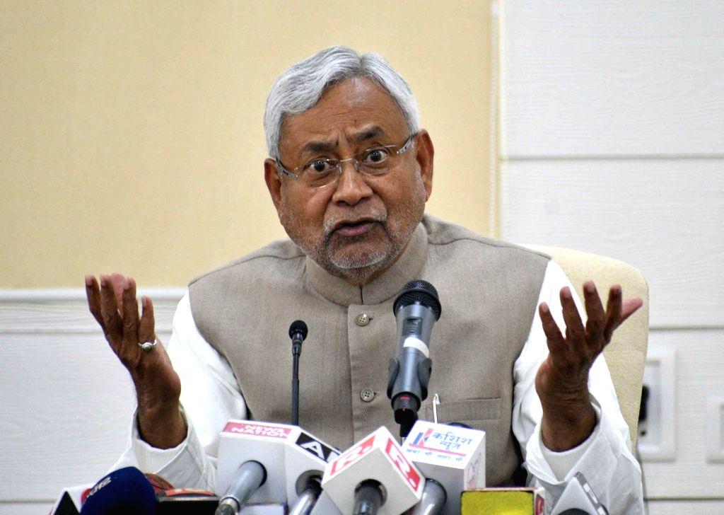 Bihar Chief Minister Nitish Kumar addresses a press conference after Lok Samvad programme in Patna on Feb 12, 2018. - Nitish Kumar