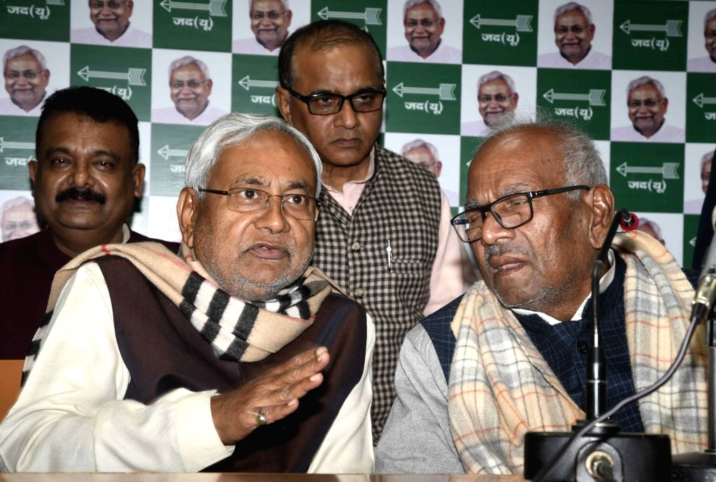 Bihar Chief Minister Nitish Kumar addresses a press conference in Patna on Feb 12, 2019. - Nitish Kumar