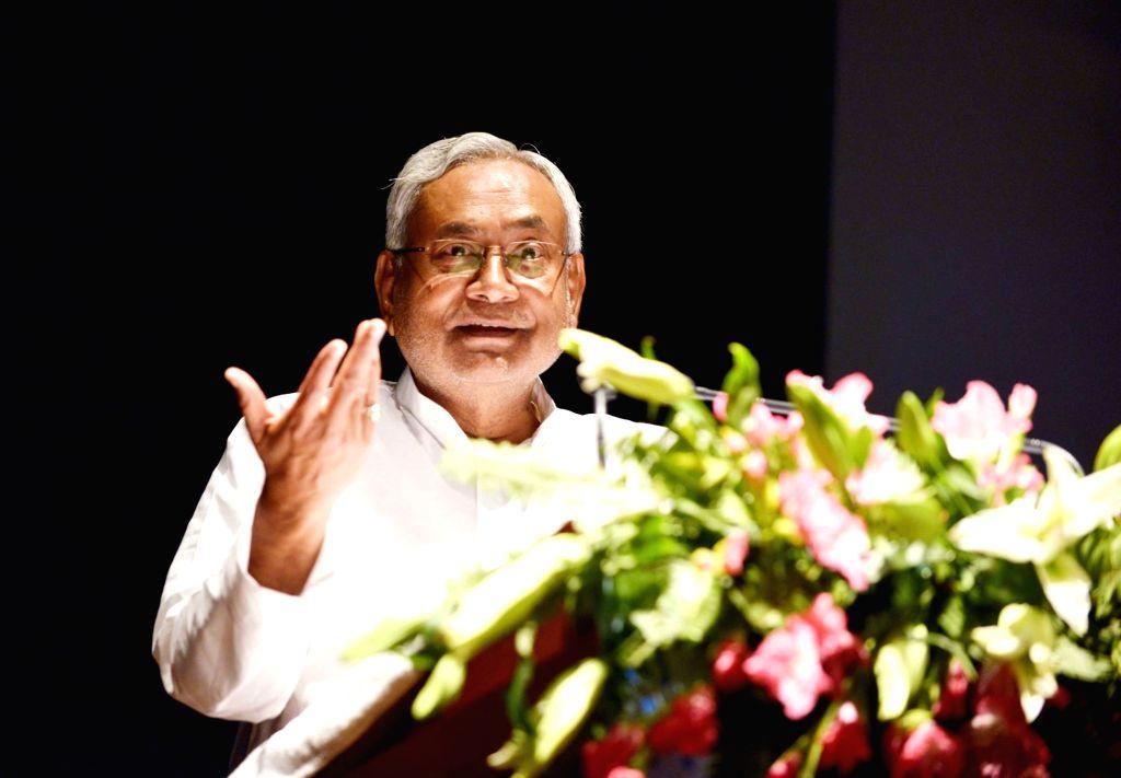 Bihar Chief Minister Nitish Kumar addresses a seminar on 'Major Bridges in Bihar', in Patna on July 26, 2019. - Nitish Kumar
