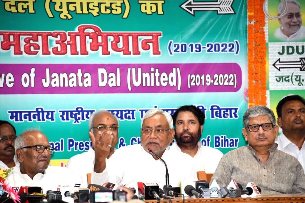 Bihar Chief Minister Nitish Kumar addresses a JD(U) press conference in Patna on June 8, 2019. - Nitish Kumar