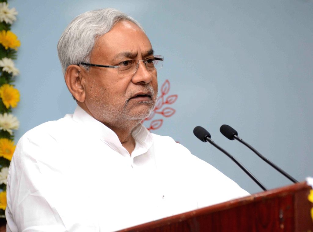 Bihar Chief Minister Nitish Kumar addresses after inaugurating Bihar State Education Finance Corporation (BSEFC) in Patna on April 4, 2018. - Nitish Kumar