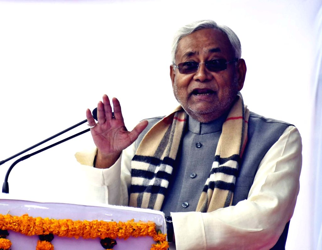Bihar Chief Minister Nitish Kumar addresses at the inauguration of a trauma center at Loknayak Jai Prakash Narayan Hospital in Patna, on Feb 8, 2019. - Nitish Kumar