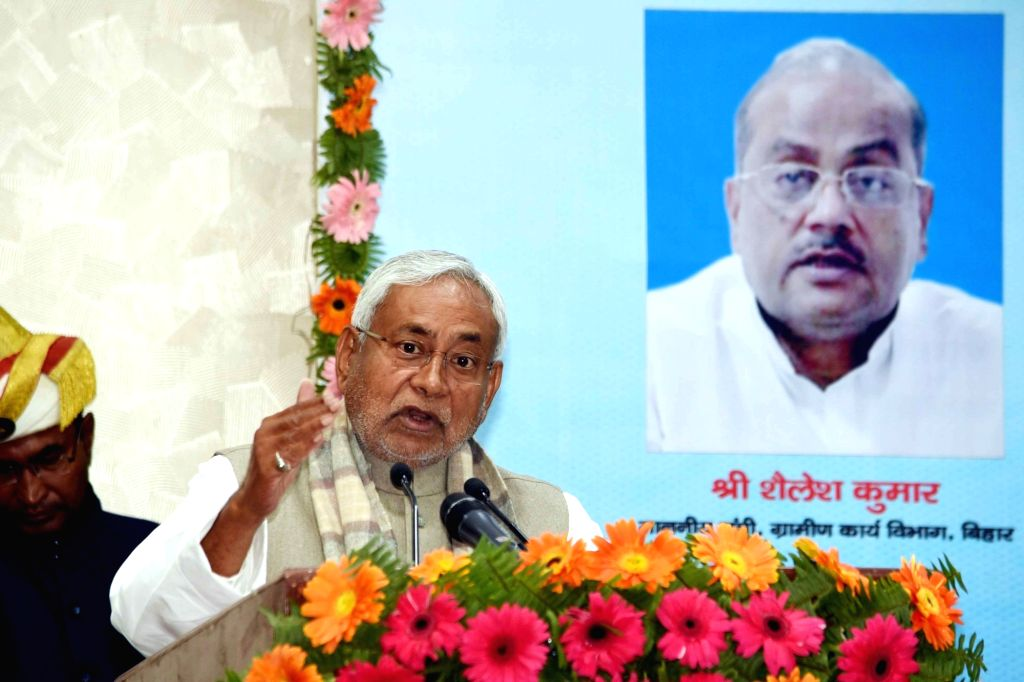 Bihar Chief Minister Nitish Kumar addresses at the inauguration of various schemes of Rural Development department in Patna, on Feb 9, 2019. - Nitish Kumar