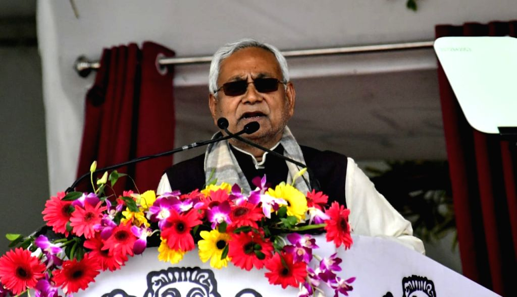 Bihar Chief Minister Nitish Kumar addresses at the inauguration of various development projects by Prime Minister Narendra Modi in Bihar's Barauni, on Feb 17, 2019. - Nitish Kumar and Narendra Modi