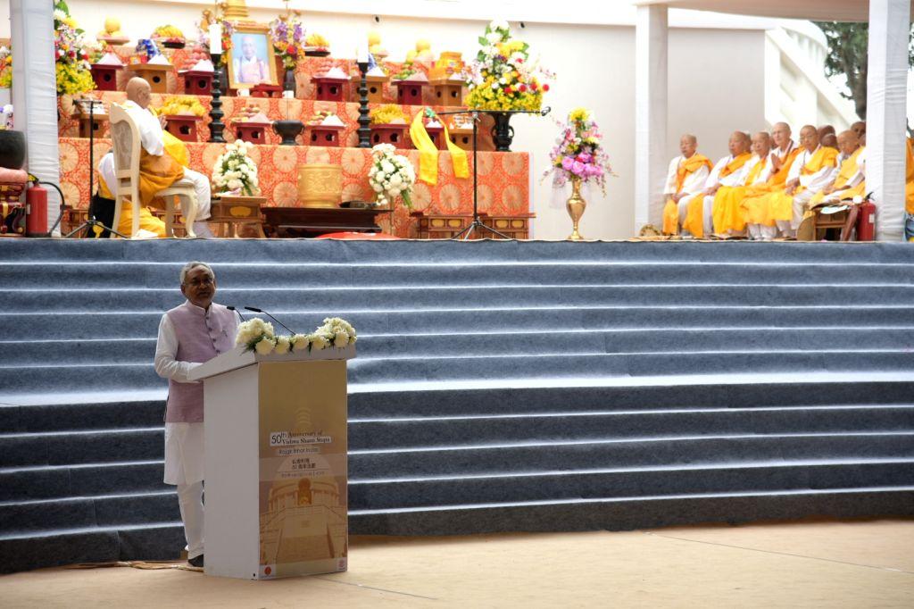 Bihar Chief Minister Nitish Kumar addresses at the 50th Anniversary celebrations of Vishwa Shanti Stupa in Bihar's Rajgir on Oct 25, 2019. - Nitish Kumar