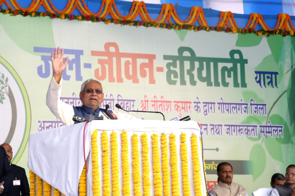 Bihar Chief Minister Nitish Kumar addresses at the water-life -greenery awareness conference during the inauguration of various development projects, in Bihar's Gopalganj on Dec 6, 2019. - Nitish Kumar