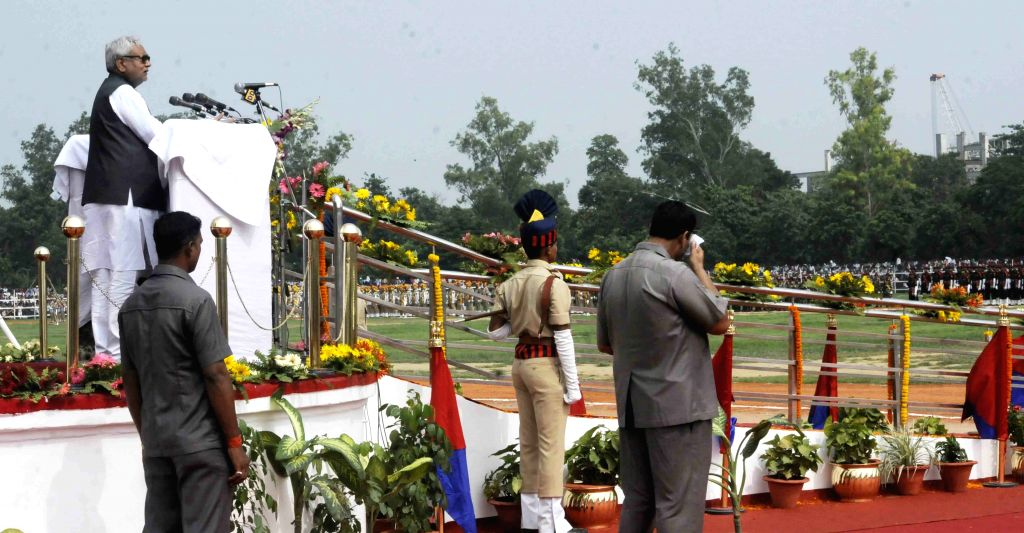 Bihar Chief Minister Nitish Kumar addresses on the occasion of 69th ``Independence Day`` celebration in Patna, on Aug 15, 2015.
