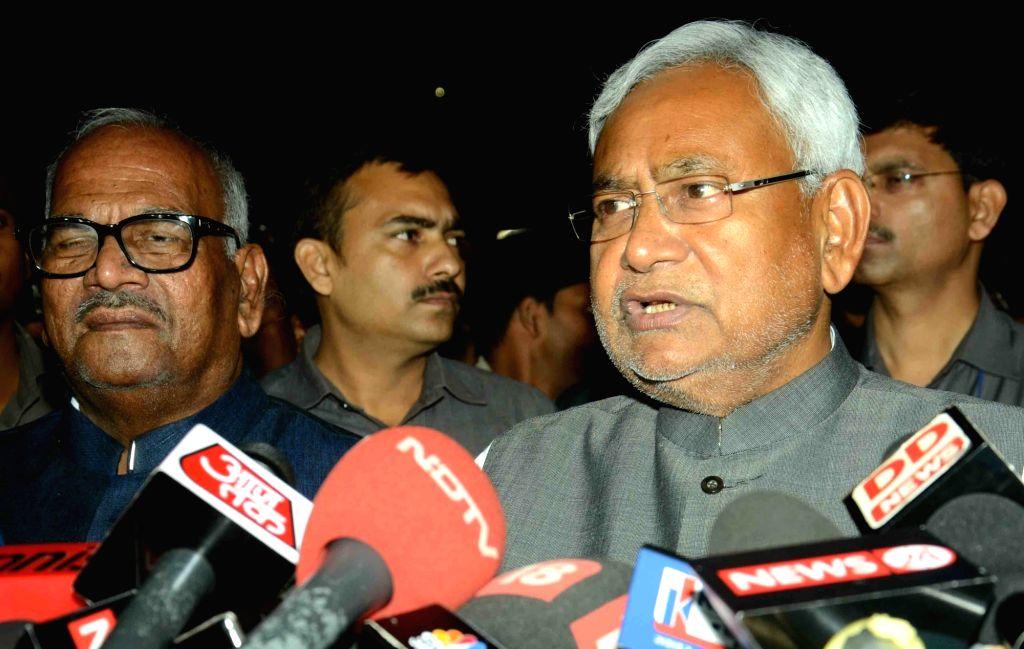 Bihar Chief Minister Nitish Kumar addresses press in Patna on Nov 14, 2015.