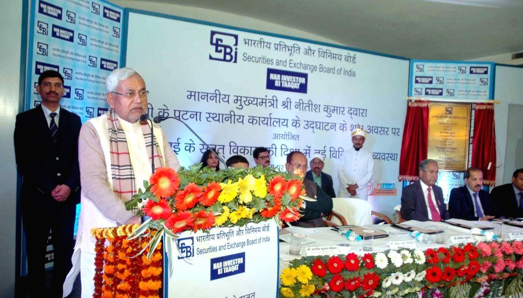 Bihar Chief Minister Nitish Kumar addresses SEBI programme in Patna on Jan 18, 2016. - Nitish Kumar
