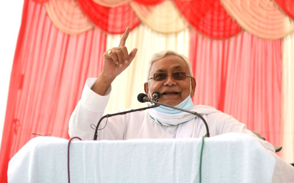 Bihar Chief Minister Nitish Kumar addressing an election meeting, ahead of Bihar Assembly elections in Buxar on October 18, 2020. - Nitish Kumar