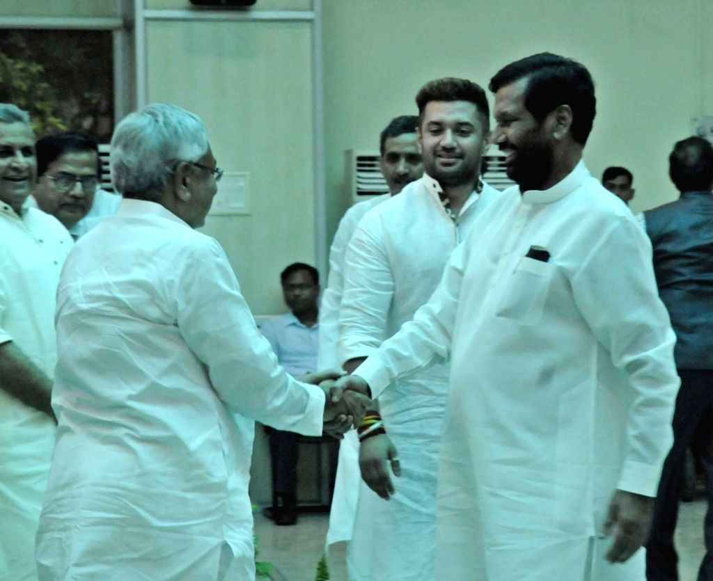 Bihar Chief Minister Nitish Kumar along with Union Minister Ram Vilas Paswan during the swearing in ceremony of Bihar's cabinet ministers at Raj Bhavan in Patna on July 29, 2017. - Nitish Kumar