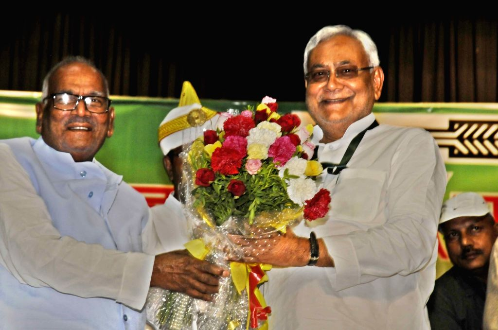 Bihar Chief Minister Nitish Kumar along with Bashistha Narain Singh during the party's national executive meeting in Patna on Aug 19, 2017. - Nitish Kumar and Bashistha Narain Singh
