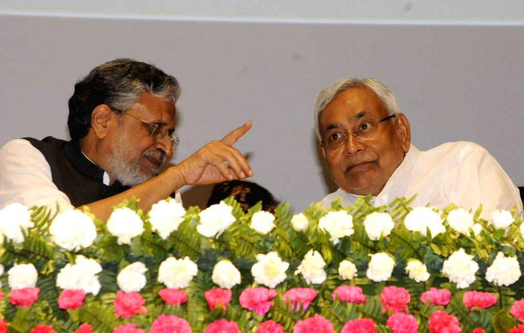 Bihar Chief Minister Nitish Kumar along with Deputy Chief Minister Sushil Kumar Modi during a programme in Patna on Oct 11, 2017. (Photoi: IANS) - Nitish Kumar and Sushil Kumar Modi