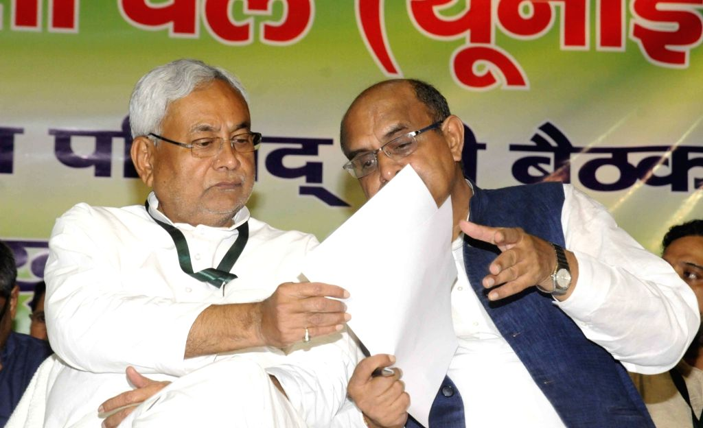 Bihar Chief Minister Nitish Kumar along with JD(U) Chief General Secretary and National Spokesperson K. C. Tyagi during the party's national executive meeting in Patna on Aug 19, 2017. - Nitish Kumar