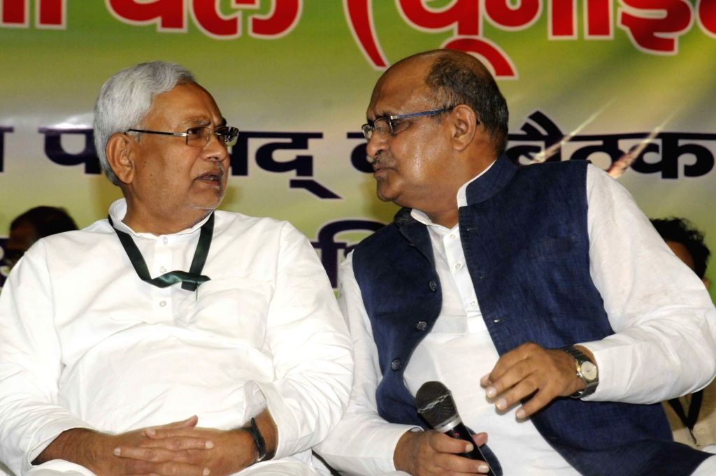 Bihar Chief Minister Nitish Kumar along with JD(U)'s Chief General Secretary and National Spokesperson K. C. Tyagi during the party's national executive meeting in Patna on Aug 19, 2017. - Nitish Kumar
