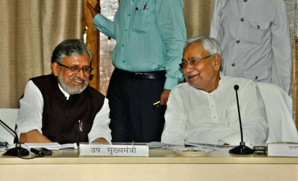 Bihar Chief Minister Nitish Kumar and Deputy Chief Minister Sushil Kumar Modi during a meeting at Samvad Bhawan in Patna on Aug 3, 2017. - Nitish Kumar and Sushil Kumar Modi