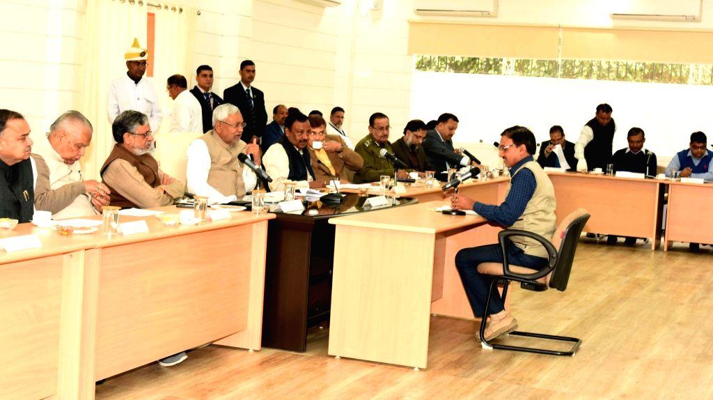 Bihar Chief Minister Nitish Kumar and Deputy Chief Minister Sushil Kumar Modi listen to public grievances during Lok Samvad programme in Patna on Feb 12, 2018. - Nitish Kumar and Sushil Kumar Modi